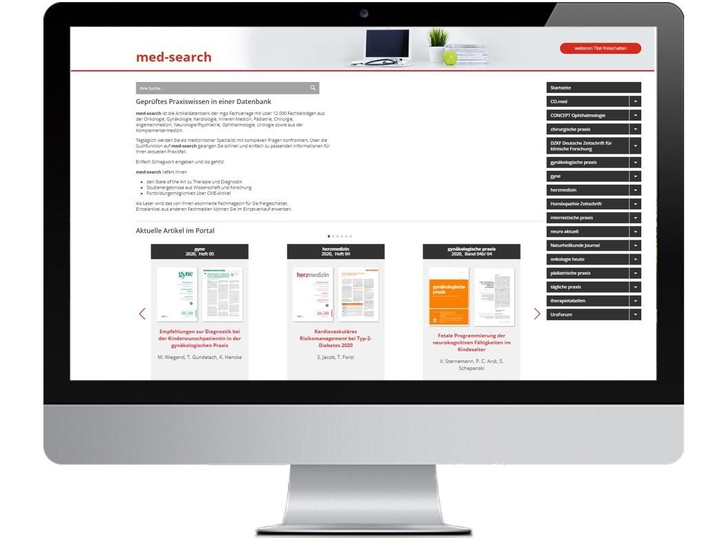 med-search – Das umfassende Digitalprodukt in der Medizin